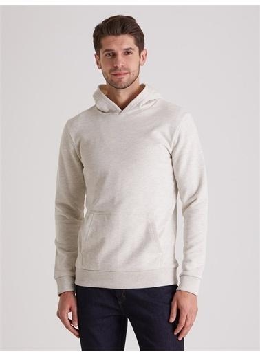 Dufy Düz Kapüşonlu Erkek Sweatshirt - Regular Fit Ekru